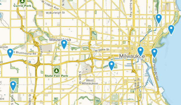 Milwaukee, Wisconsin Dogs On Leash Map