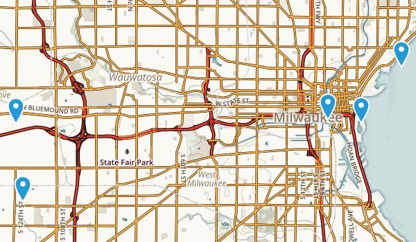 Milwaukee, Wisconsin Road Biking Map