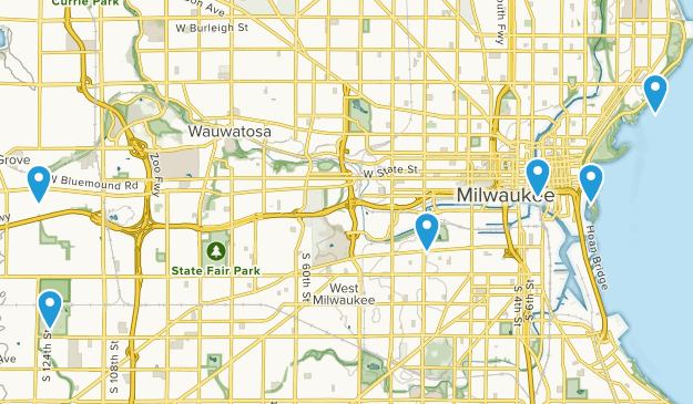 Milwaukee, Wisconsin Road Biking Map