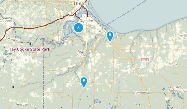Superior, Wisconsin Trail Running Map