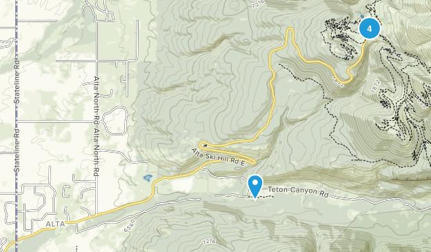 Alta, Wyoming Mountain Biking Map