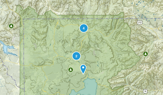 Canyon Village, Wyoming Hiking Map