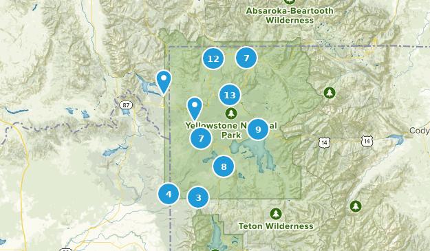 Yellowstone National Park, Wyoming Camping Map