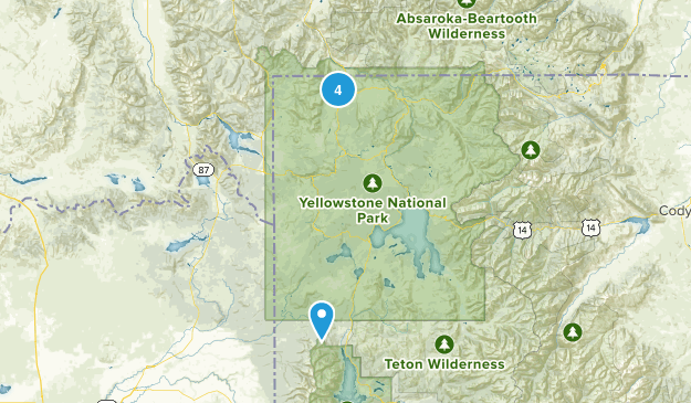 Yellowstone National Park, Wyoming Cross Country Skiing Map