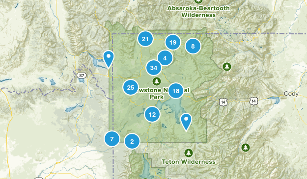 Yellowstone National Park, Wyoming Hiking Map