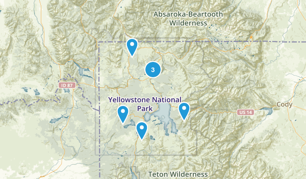Yellowstone National Park, Wyoming Mountain Biking Map