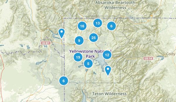 Yellowstone National Park, Wyoming Walking Map