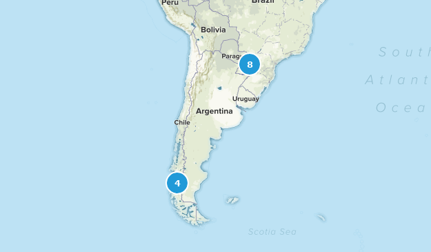 Argentina Waterfall Map