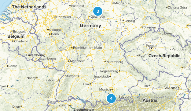 Germany Snowshoeing Map