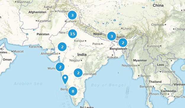Inde Nature Trips Map