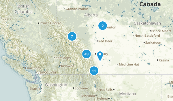 Alberta, Canada Camping Map