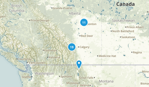Alberta, Canada Cross Country Skiing Map