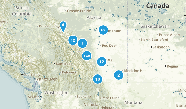 Alberta, Canada Trail Running Map