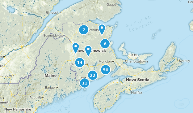 New Brunswick, Canada Hiking Map