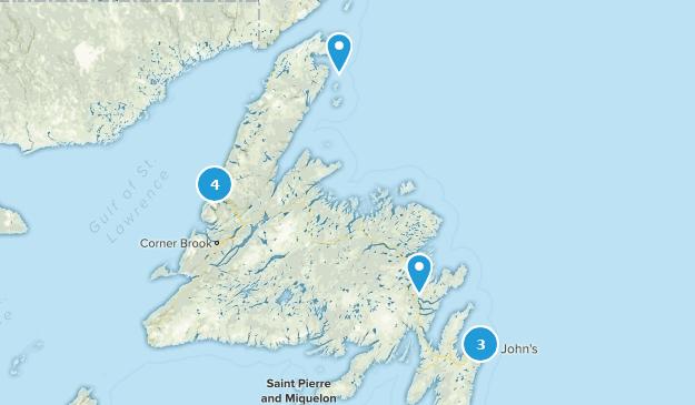 Newfoundland and Labrador, Canada Backpacking Map