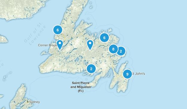 Newfoundland and Labrador, Canada Lake Map