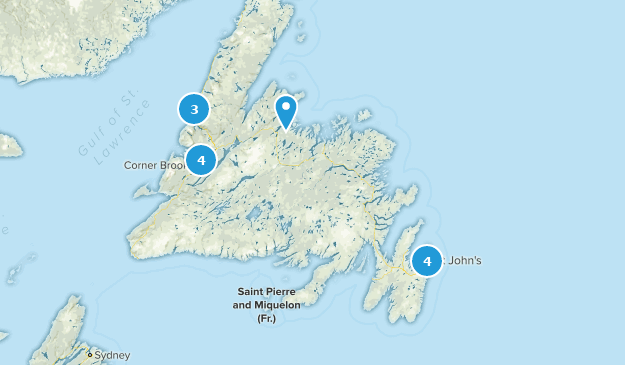Newfoundland and Labrador, Canada Mountain Biking Map