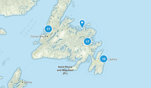 Newfoundland and Labrador, Canada Parks Map