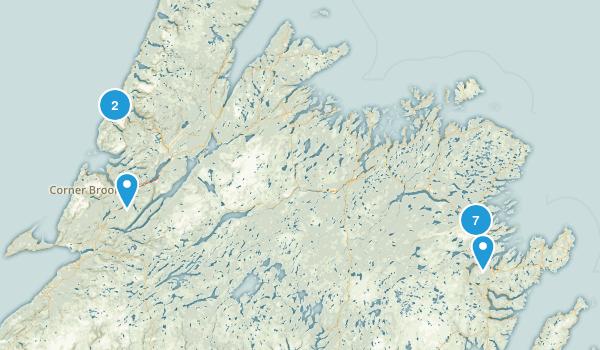 Newfoundland and Labrador, Canada Snowshoeing Map