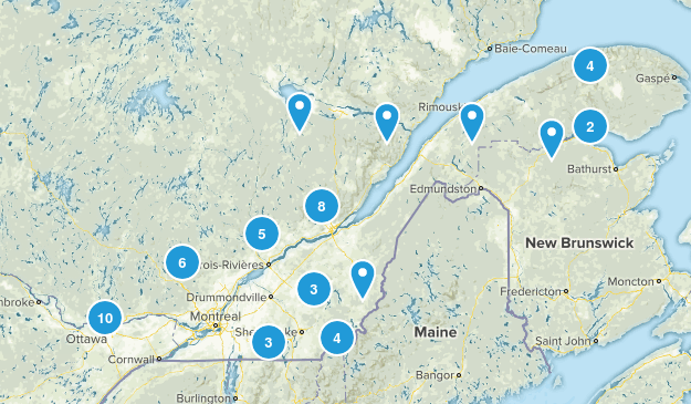 Quebec, Canada Waterfall Map