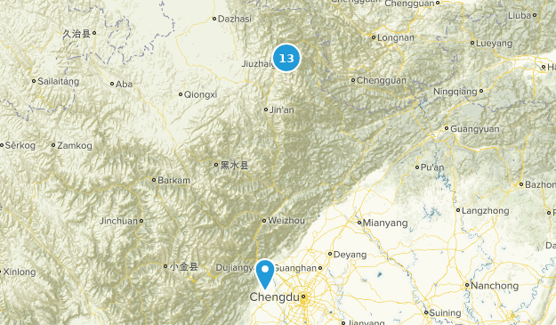 Sichuan, China National Parks Map