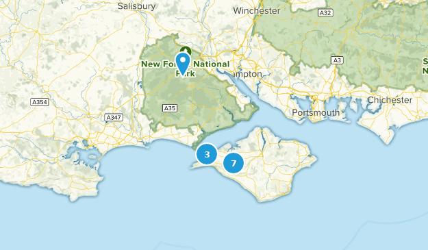 Isle of Wight, England Walking Map