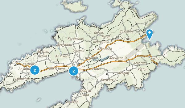 Finistère, France Hiking Map