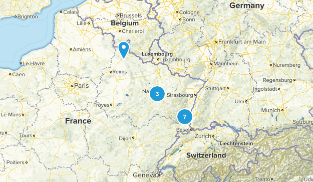 Grand Est, France Walking Map