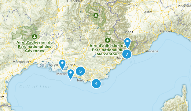 Provence-Alpes-Côte d'Azur, France Historic Site Map