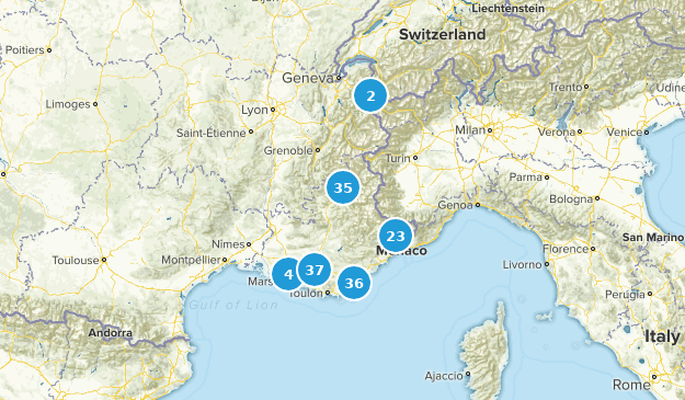 Provence-Alpes-Côte d'Azur, France Nature Trips Map