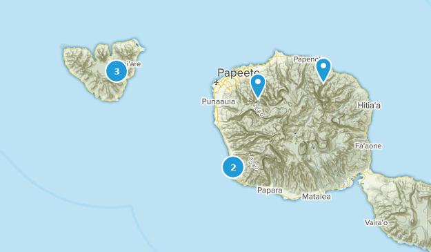 Windward Islands, French Polynesia Hiking Map