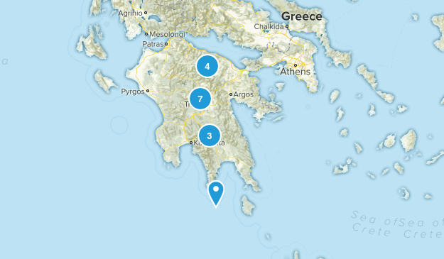 Peloponnese, Greece Hiking Map
