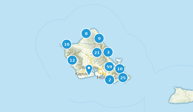 Oahu, Hawaii Nature Trips Map