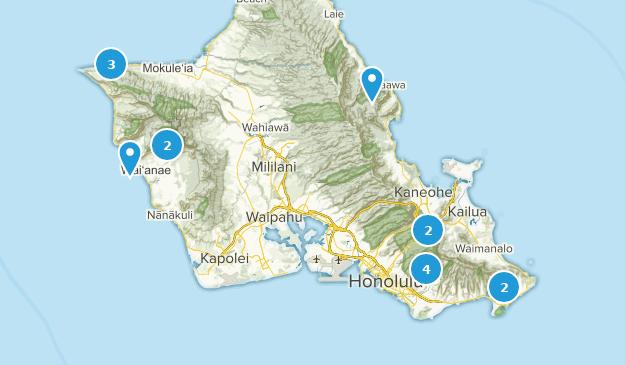 Oahu, Hawaii Rock Climbing Map