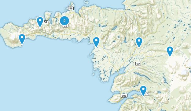 Vesturland, Iceland Hiking Map