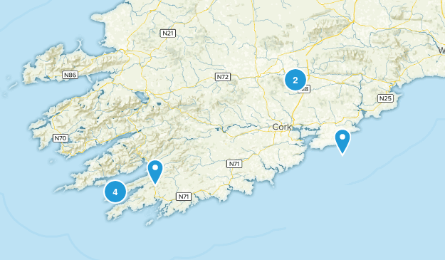 Cork County, Ireland Hiking Map