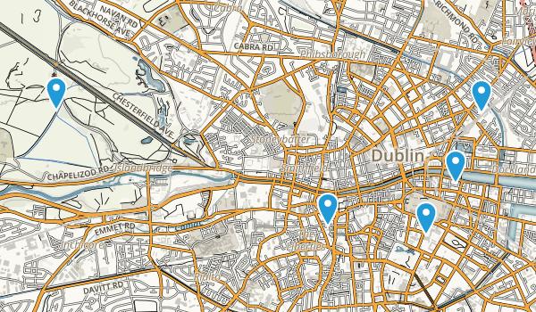 Dublin City, Ireland Hiking Map