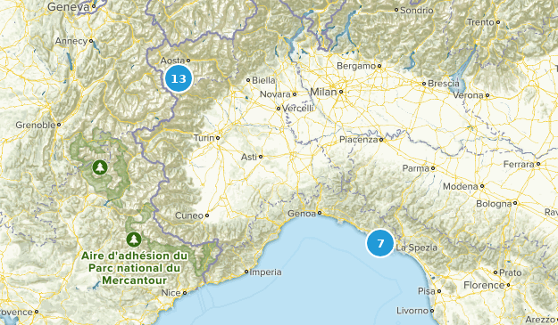 Piedmont, Italy National Parks Map
