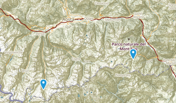 Valle D'Aosta, Italy Parks Map