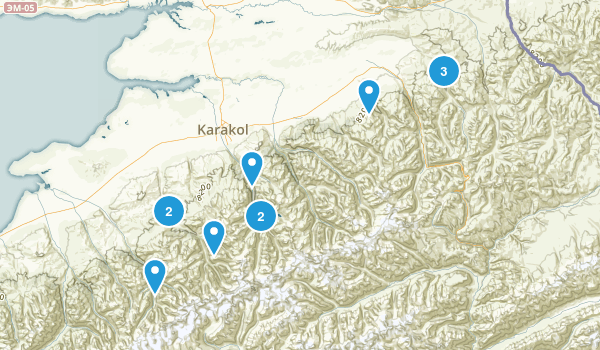 Ysyk-Köl, Kyrgyzstan Backpacking Map