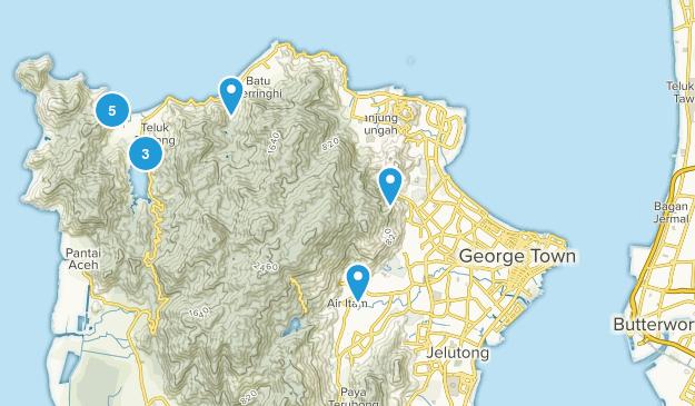 Pulau Pinang, Malaysia Hiking Map