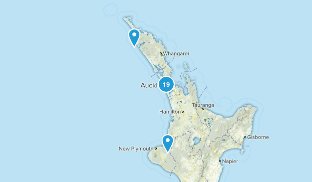 Auckland Region, New Zealand Beach Map