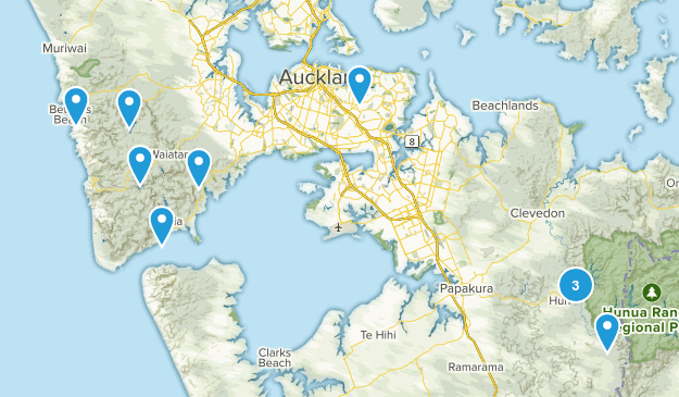 Auckland Region, New Zealand Lake Map