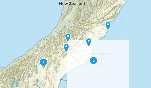 Canterbury Region, New Zealand Backpacking Map