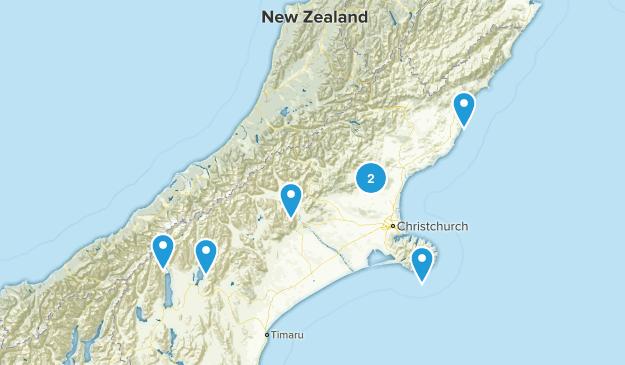 Canterbury Region, New Zealand Camping Map