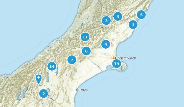 Canterbury Region, New Zealand Hiking Map
