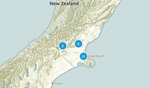 Canterbury Region, New Zealand Mountain Biking Map