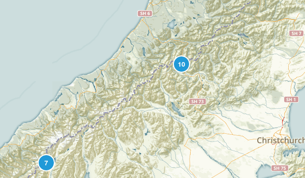 Canterbury Region, New Zealand National Parks Map