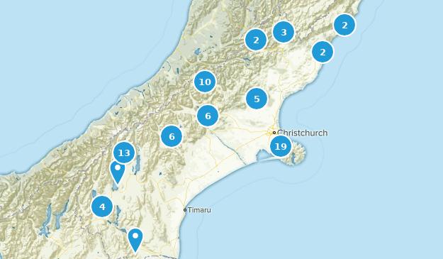 Canterbury Region, New Zealand Nature Trips Map
