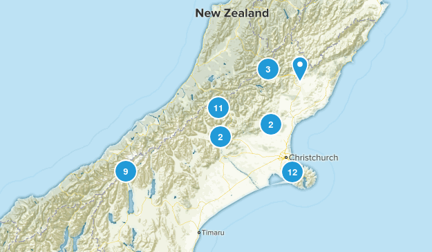 Canterbury Region, New Zealand Parks Map